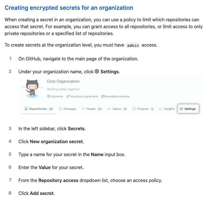 Creating encrypted secrets for an organization